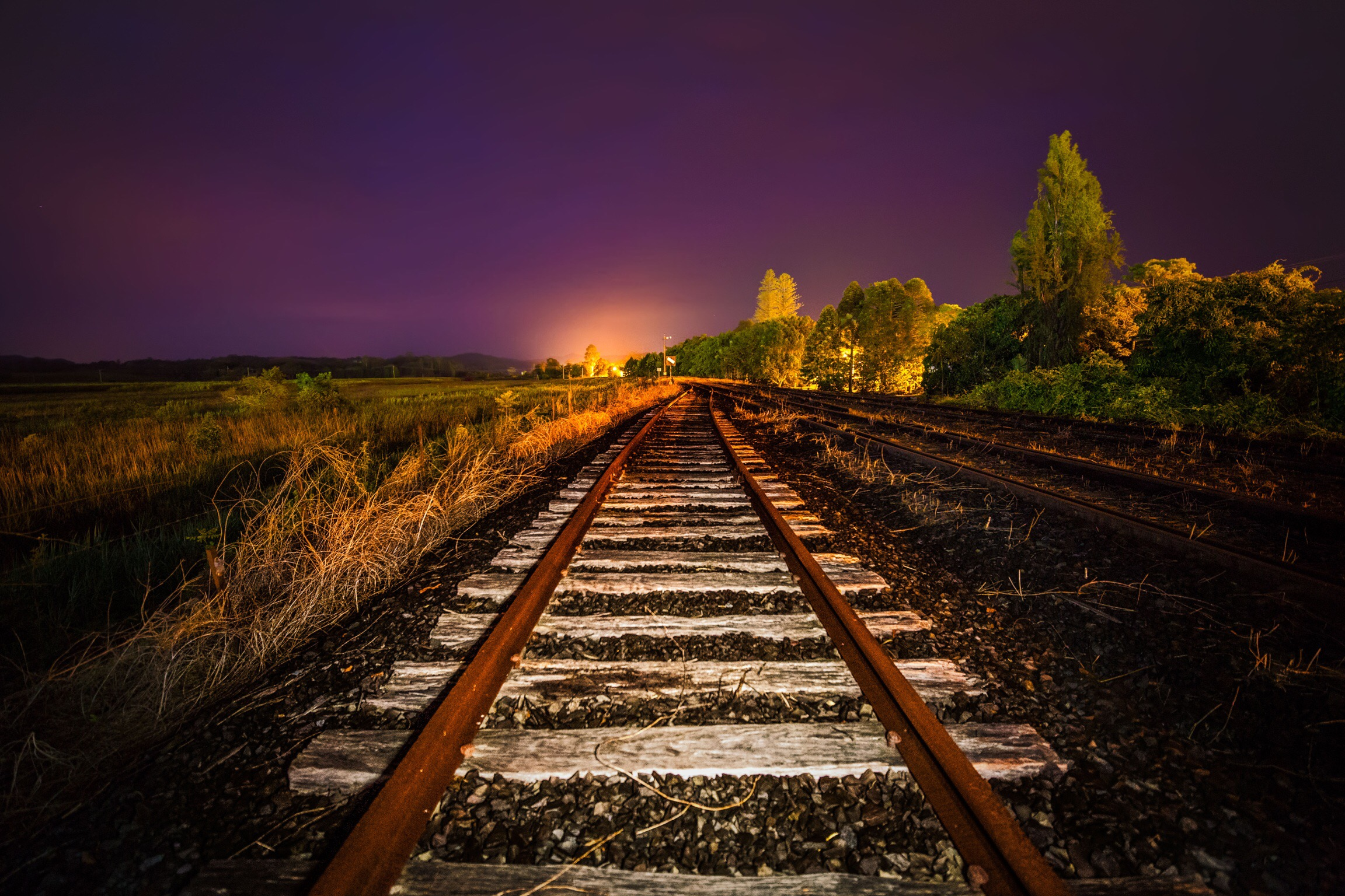 You can do some pretty mind blowing things with lights and photography. I was walking this abandoned train track quite early one morning and I had an idea ... : train track lights - azcodes.com